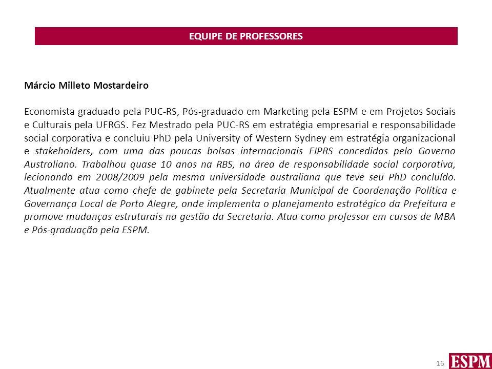 EQUIPE DE PROFESSORES Márcio Milleto Mostardeiro.