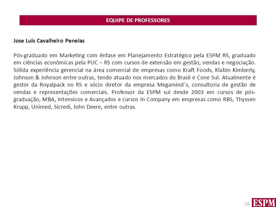 EQUIPE DE PROFESSORES Jose Luis Cavalheiro Penelas.