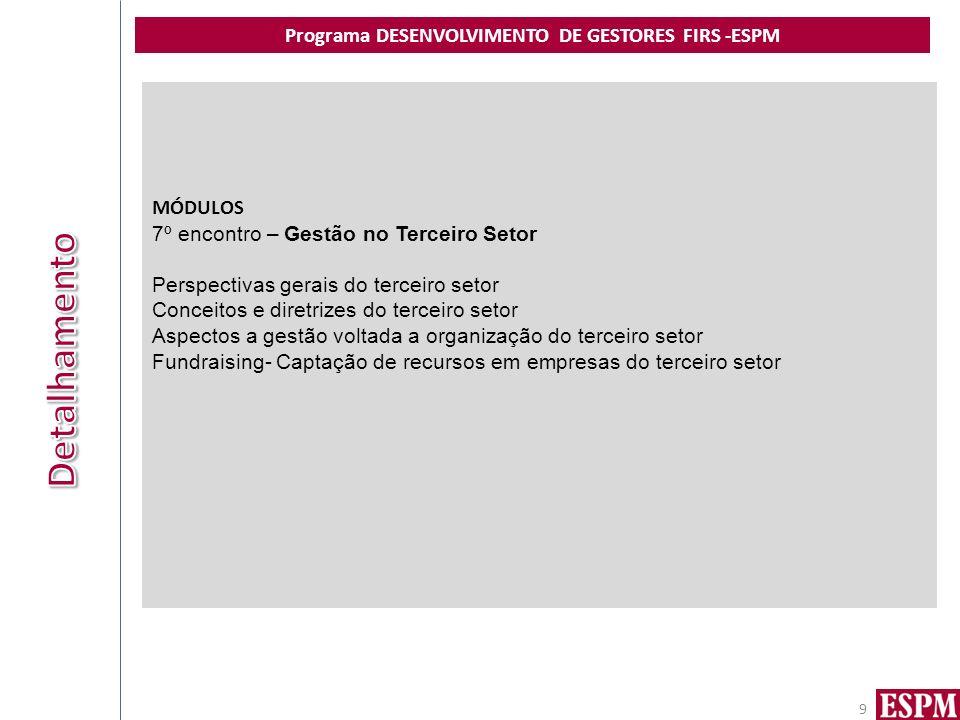 Programa DESENVOLVIMENTO DE GESTORES FIRS -ESPM