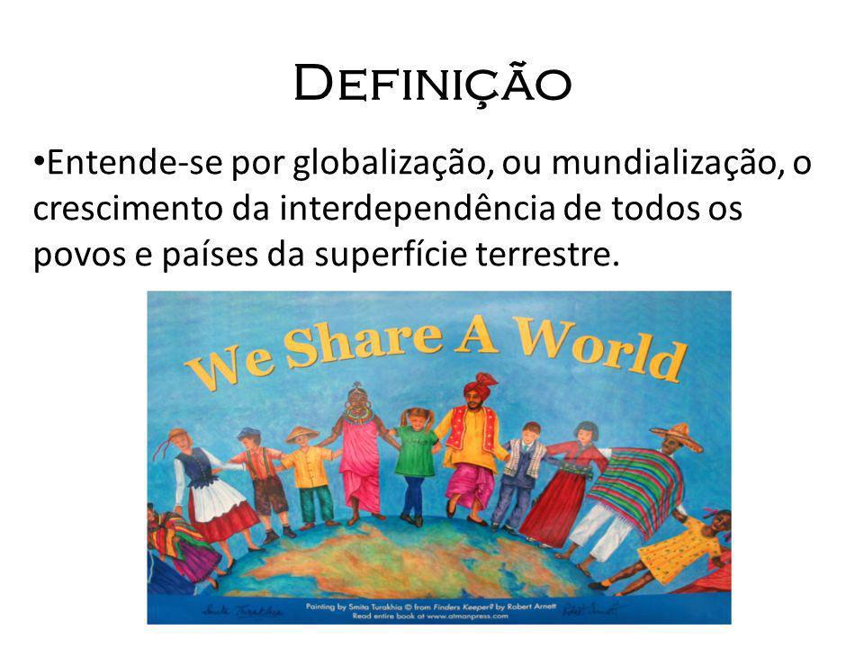 Definição Entende-se por globalização, ou mundialização, o crescimento da interdependência de todos os povos e países da superfície terrestre.