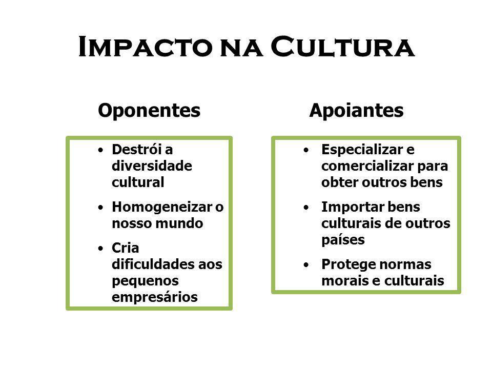 Impacto na Cultura Oponentes Apoiantes Destrói a diversidade cultural