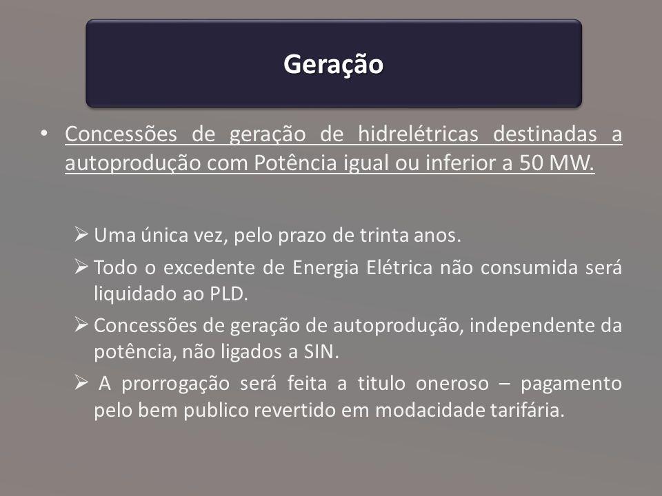 Geração Concessões de geração de hidrelétricas destinadas a autoprodução com Potência igual ou inferior a 50 MW.