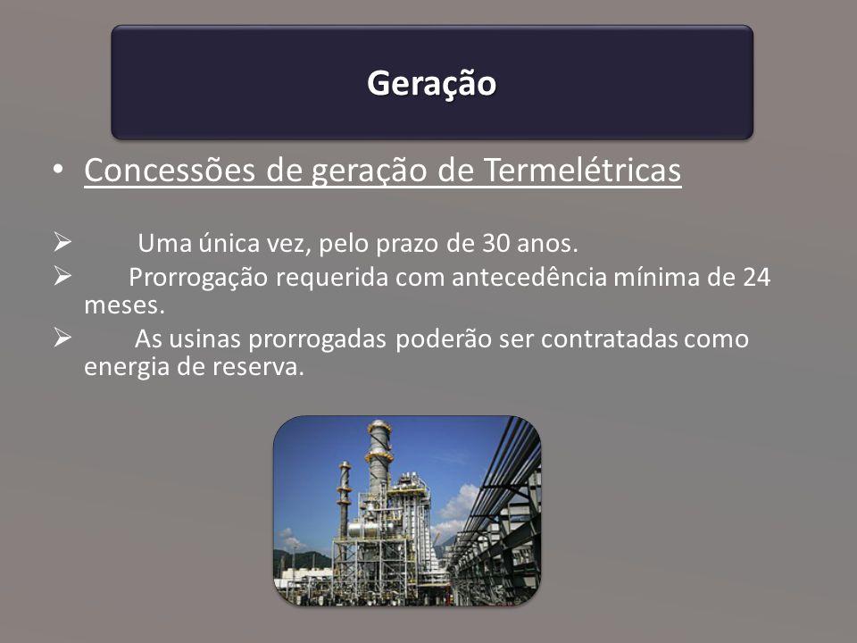 Geração Concessões de geração de Termelétricas