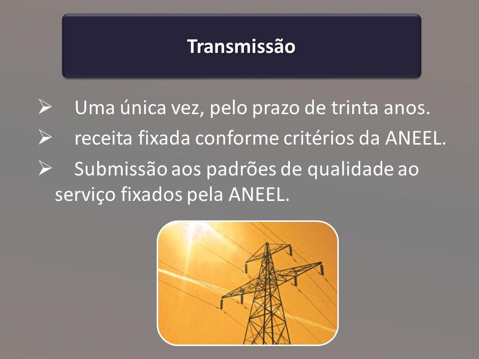 Transmissão Uma única vez, pelo prazo de trinta anos. receita fixada conforme critérios da ANEEL.