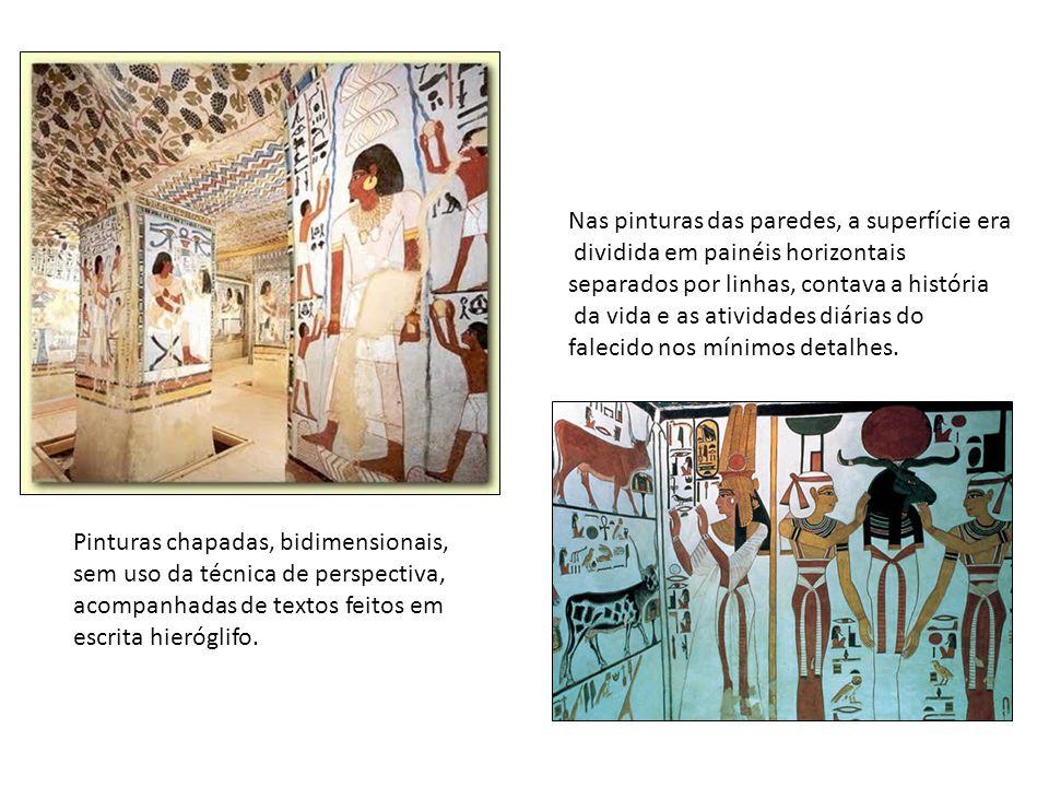 Nas pinturas das paredes, a superfície era