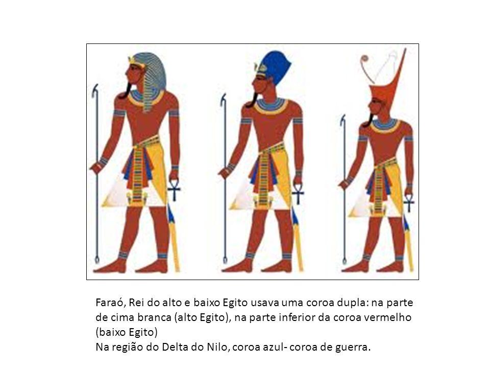 Faraó, Rei do alto e baixo Egito usava uma coroa dupla: na parte de cima branca (alto Egito), na parte inferior da coroa vermelho (baixo Egito)