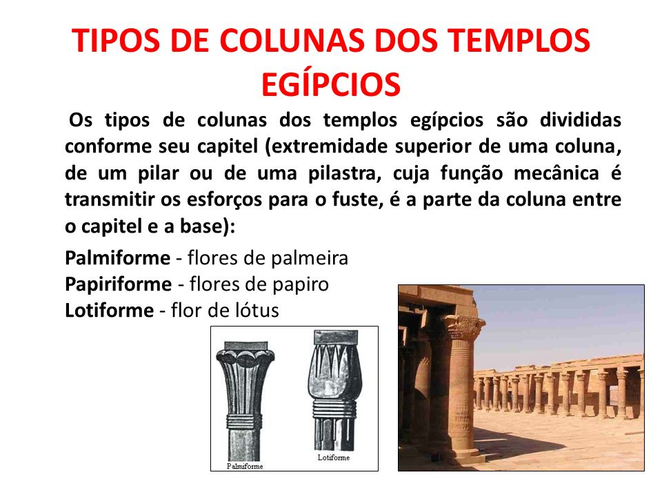 TIPOS DE COLUNAS DOS TEMPLOS EGÍPCIOS
