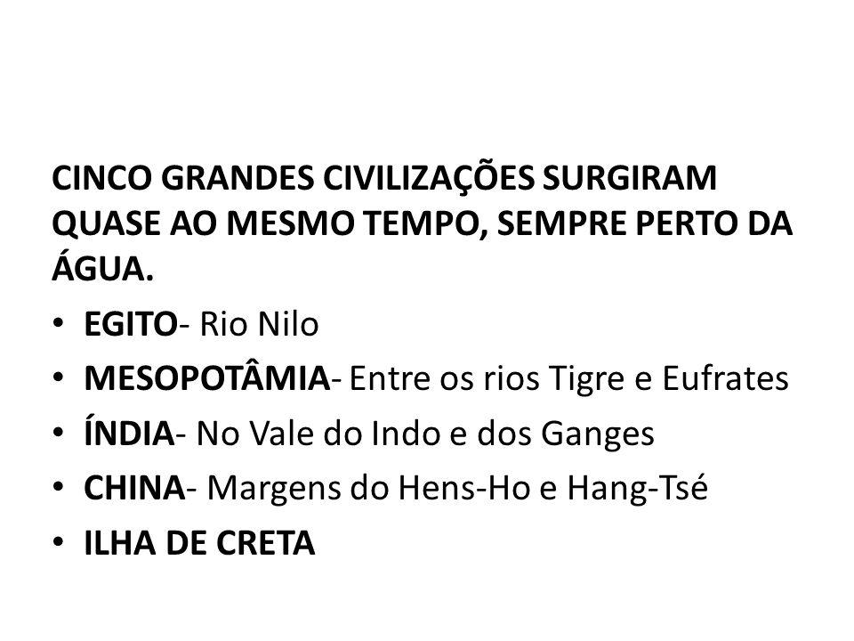 CINCO GRANDES CIVILIZAÇÕES SURGIRAM QUASE AO MESMO TEMPO, SEMPRE PERTO DA ÁGUA.