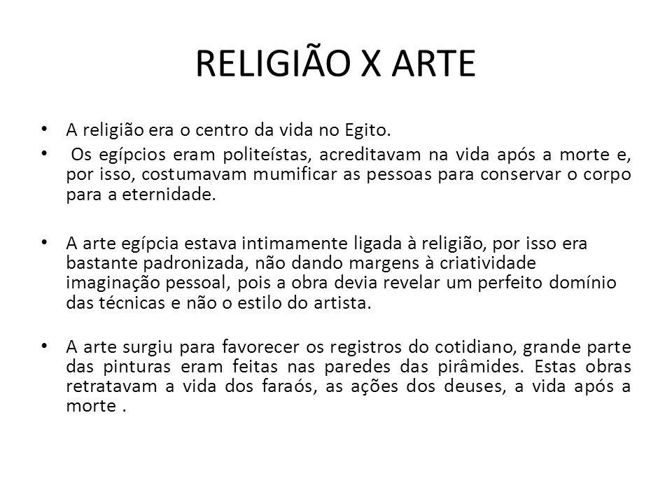 RELIGIÃO X ARTE A religião era o centro da vida no Egito.