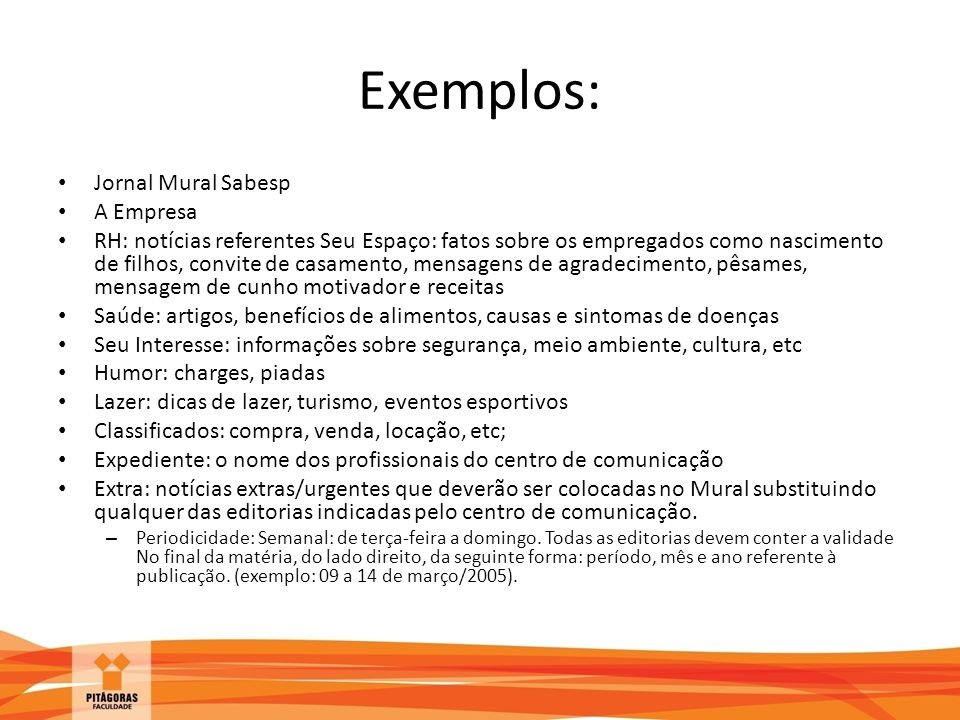 Exemplos: Jornal Mural Sabesp A Empresa