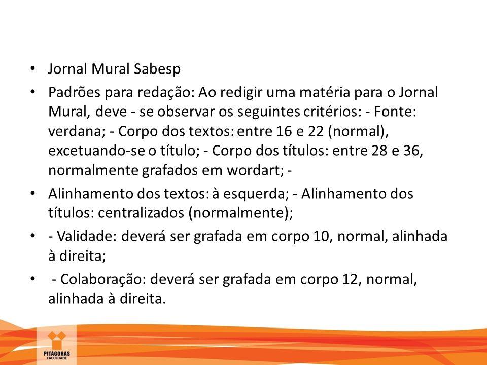 Jornal Mural Sabesp