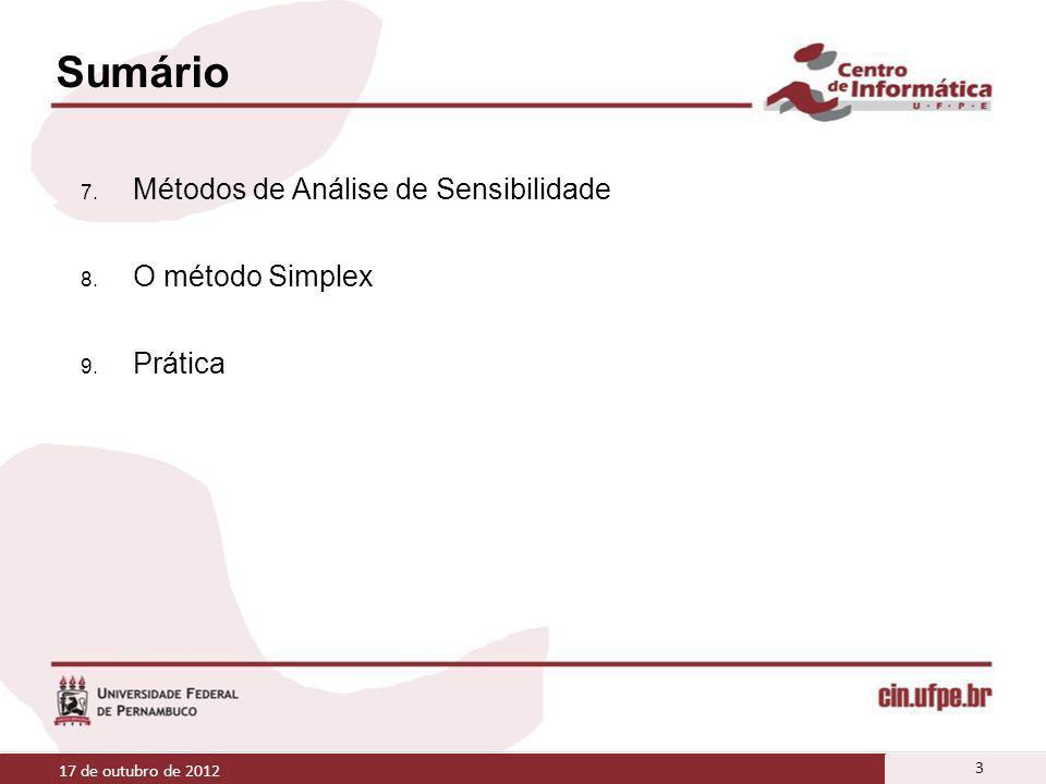 Sumário Métodos de Análise de Sensibilidade O método Simplex Prática