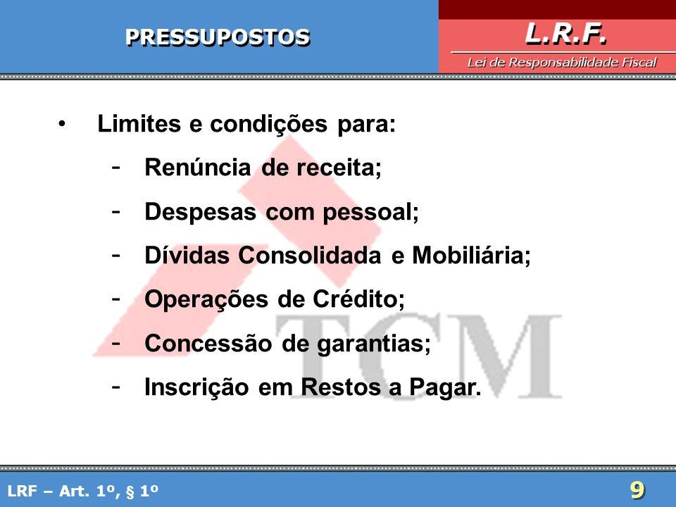 Limites e condições para: Renúncia de receita; Despesas com pessoal;