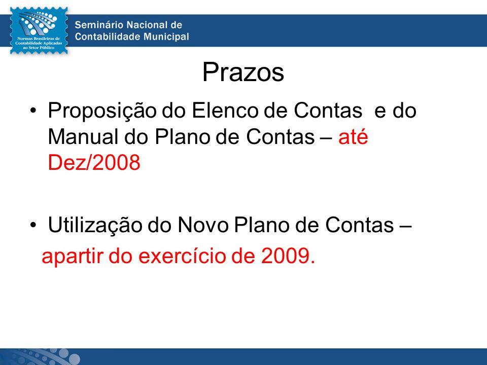 Prazos Proposição do Elenco de Contas e do Manual do Plano de Contas – até Dez/2008. Utilização do Novo Plano de Contas –