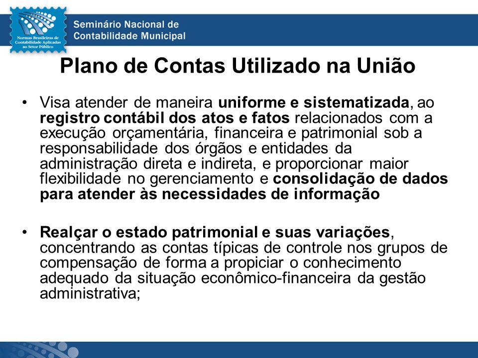 Plano de Contas Utilizado na União