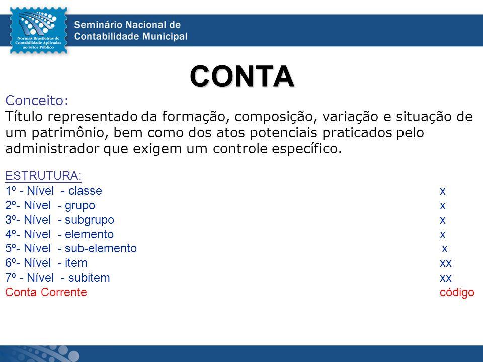CONTA Conceito: Título representado da formação, composição, variação e situação de. um patrimônio, bem como dos atos potenciais praticados pelo.