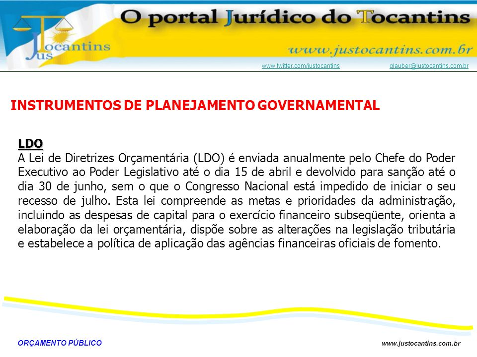 INSTRUMENTOS DE PLANEJAMENTO GOVERNAMENTAL