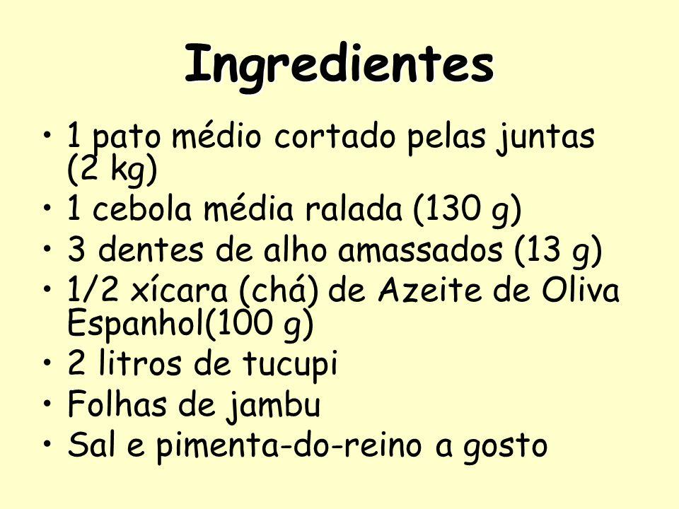 Ingredientes 1 pato médio cortado pelas juntas (2 kg)