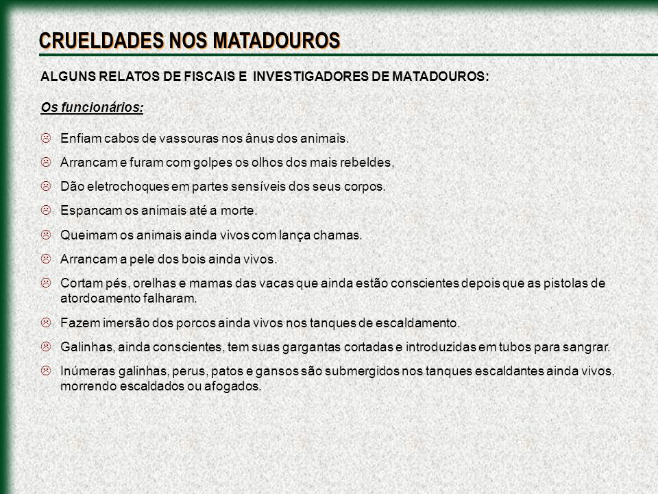 CRUELDADES NOS MATADOUROS