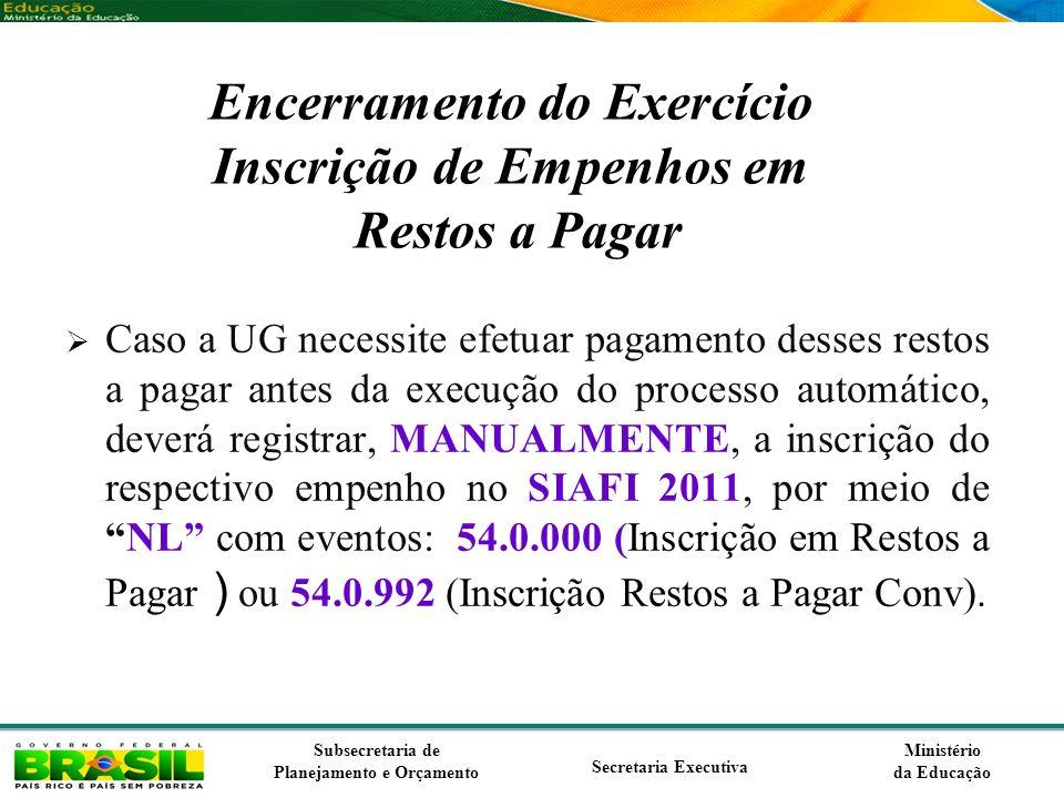Encerramento do Exercício Inscrição de Empenhos em Restos a Pagar