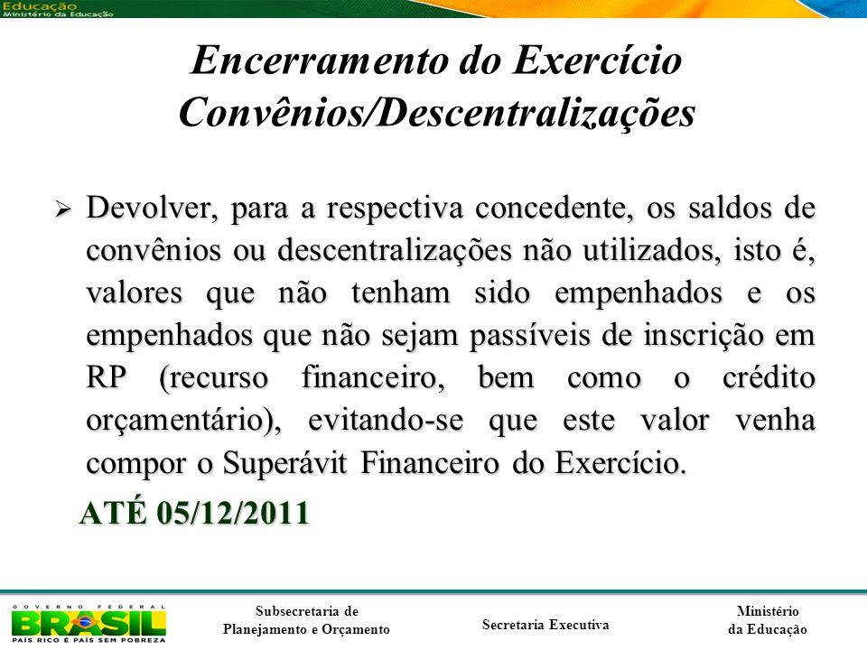 Encerramento do Exercício Convênios/Descentralizações