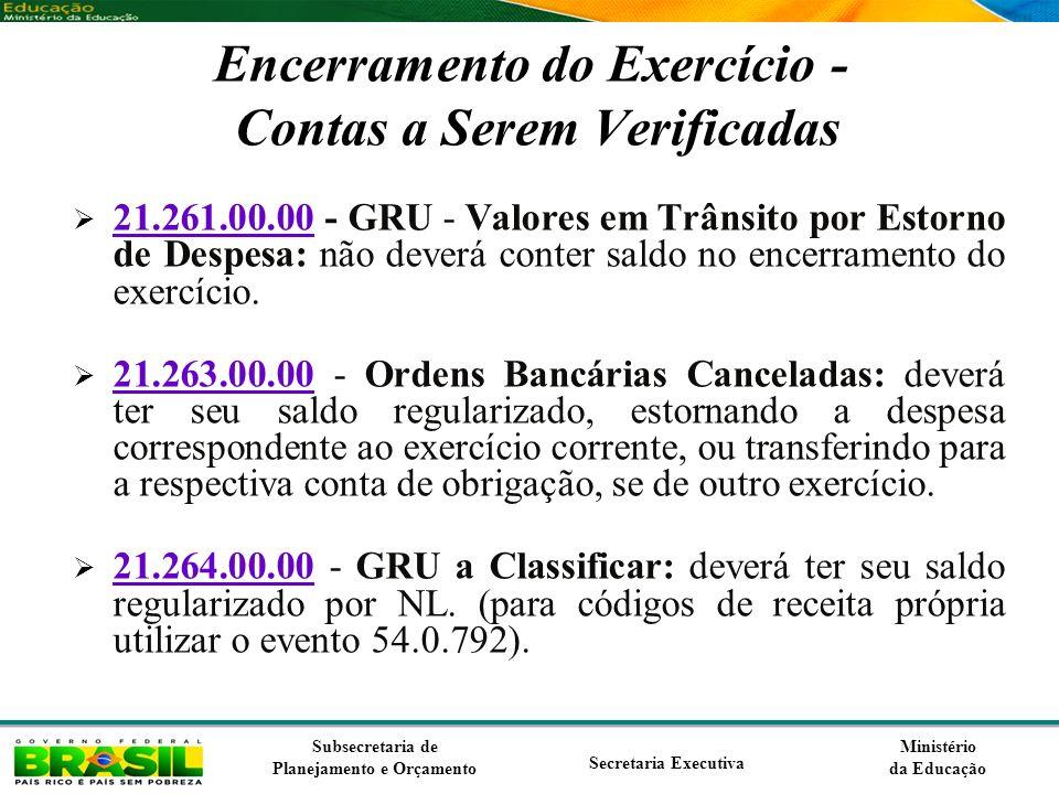 Encerramento do Exercício - Contas a Serem Verificadas