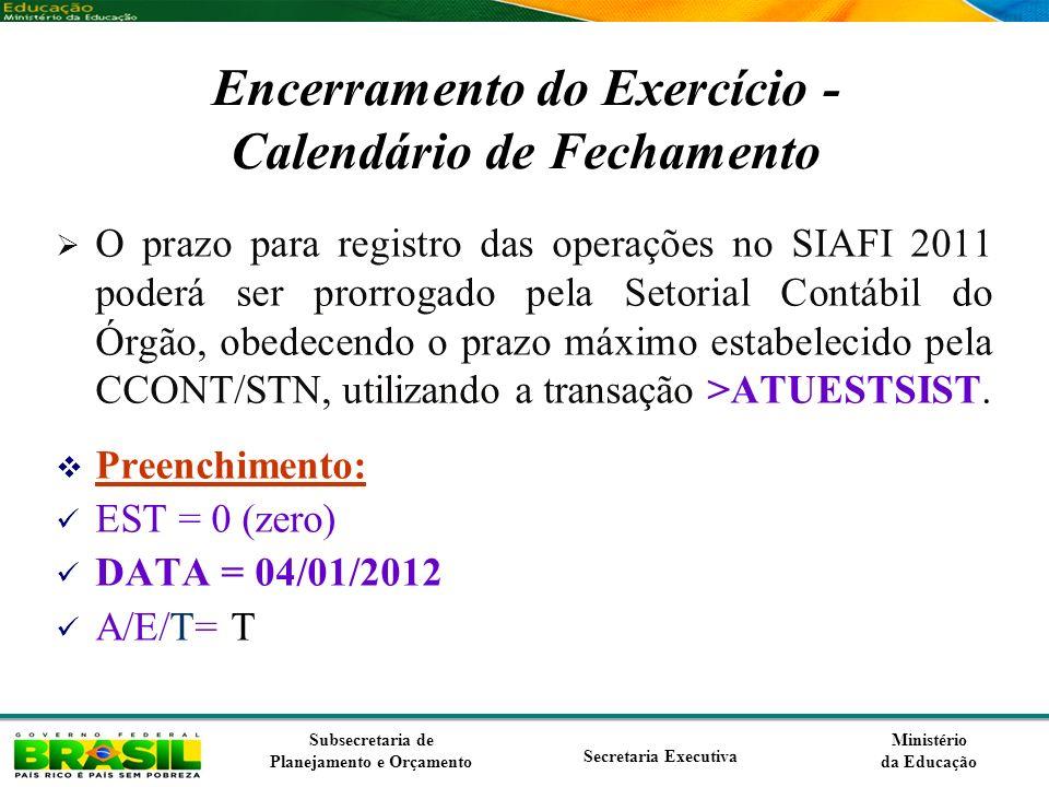 Encerramento do Exercício - Calendário de Fechamento