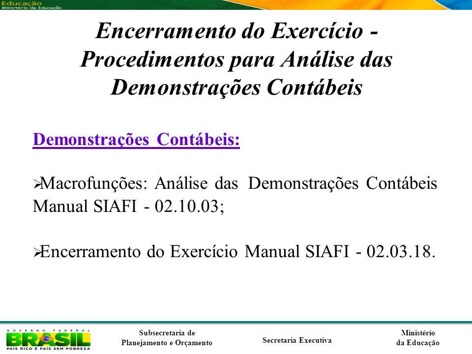 Encerramento do Exercício - Procedimentos para Análise das Demonstrações Contábeis