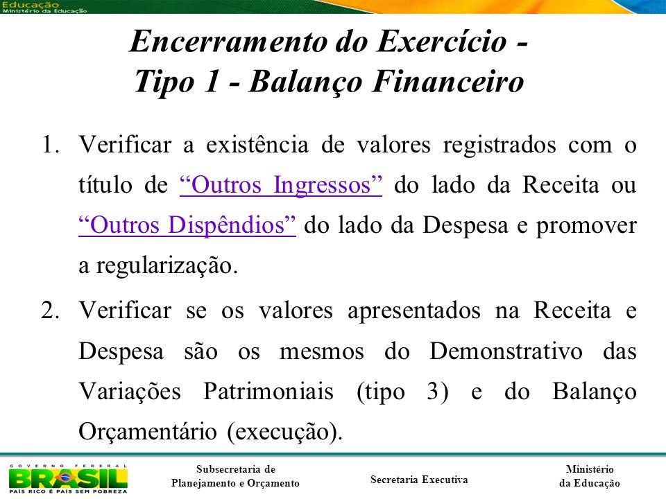 Encerramento do Exercício - Tipo 1 - Balanço Financeiro