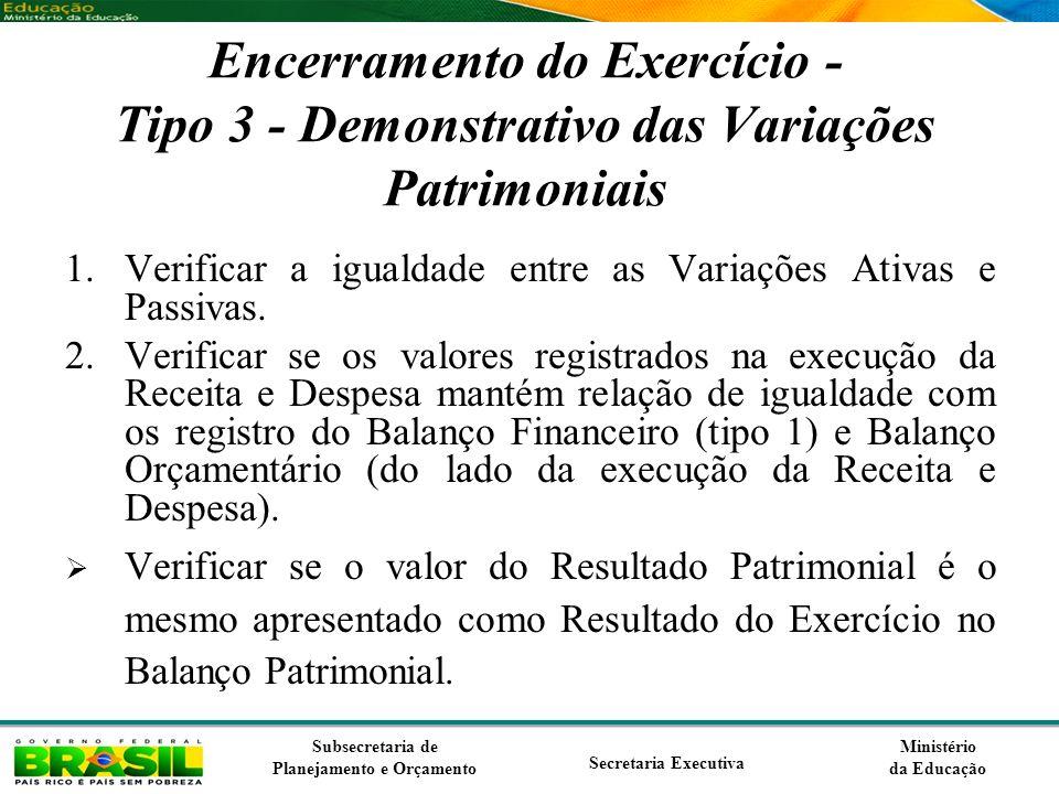 Encerramento do Exercício - Tipo 3 - Demonstrativo das Variações Patrimoniais