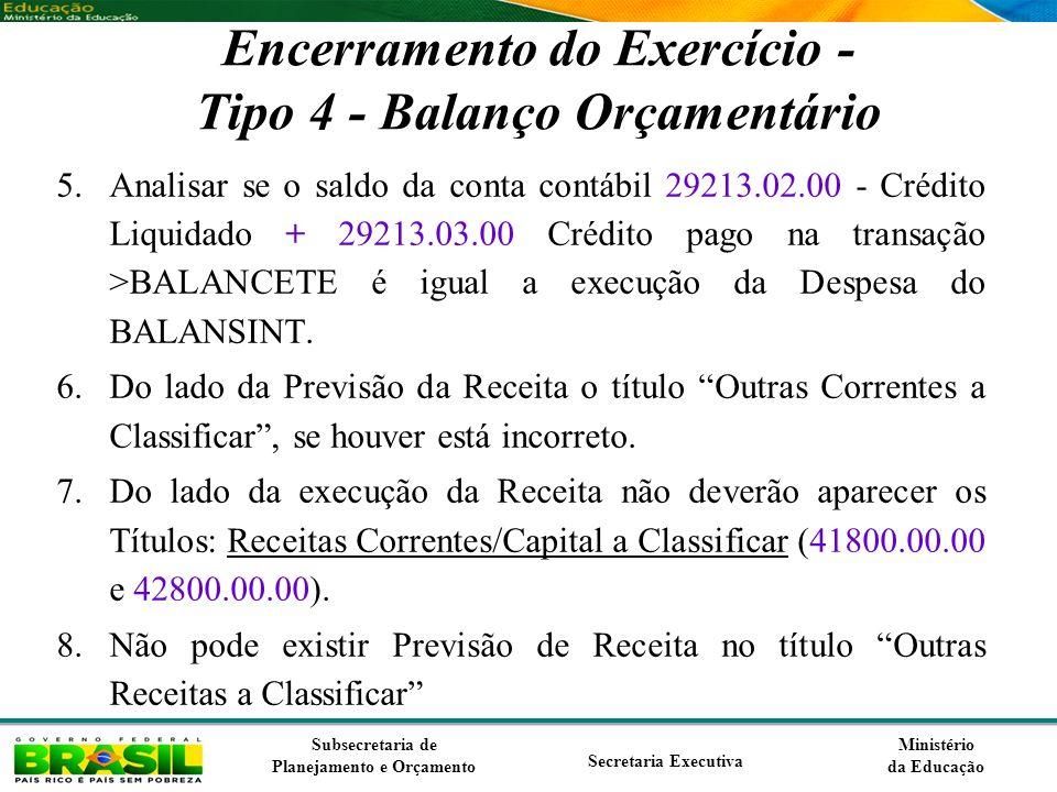 Encerramento do Exercício - Tipo 4 - Balanço Orçamentário