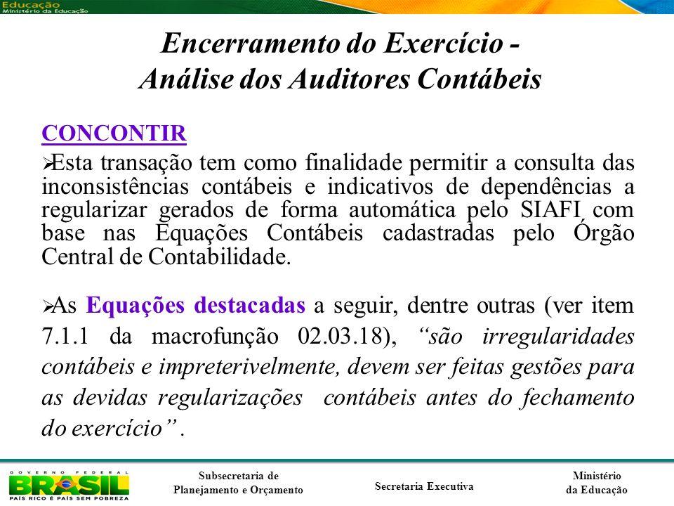 Encerramento do Exercício - Análise dos Auditores Contábeis