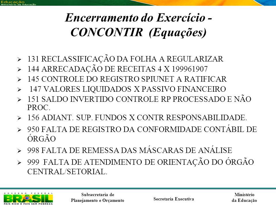Encerramento do Exercício - CONCONTIR (Equações)