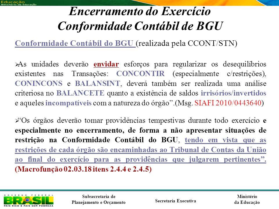 Encerramento do Exercício Conformidade Contábil de BGU