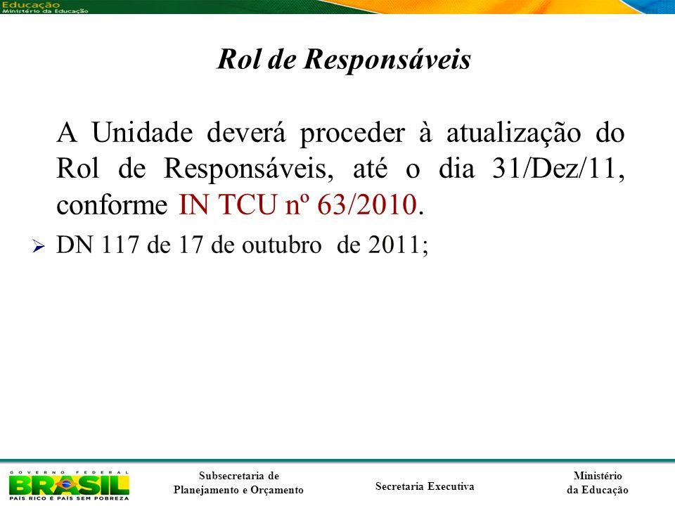 Rol de Responsáveis A Unidade deverá proceder à atualização do Rol de Responsáveis, até o dia 31/Dez/11, conforme IN TCU nº 63/2010.