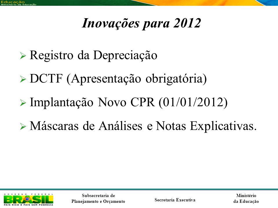 Inovações para 2012 Registro da Depreciação
