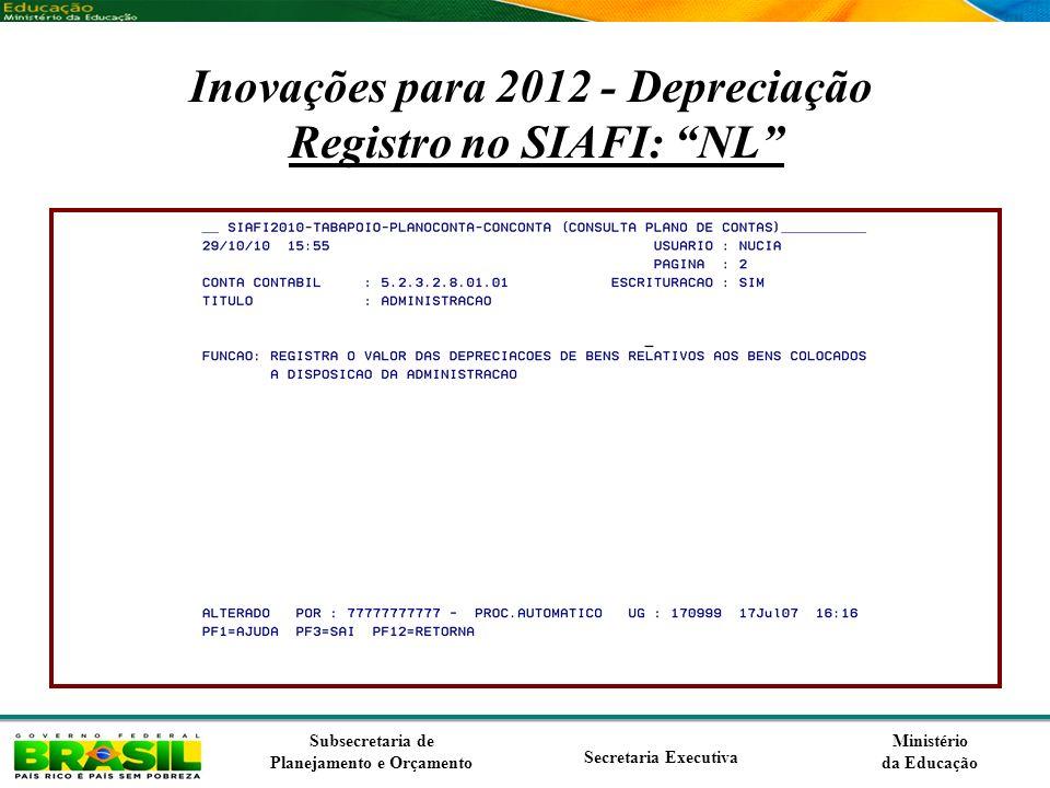 Inovações para 2012 - Depreciação Registro no SIAFI: NL