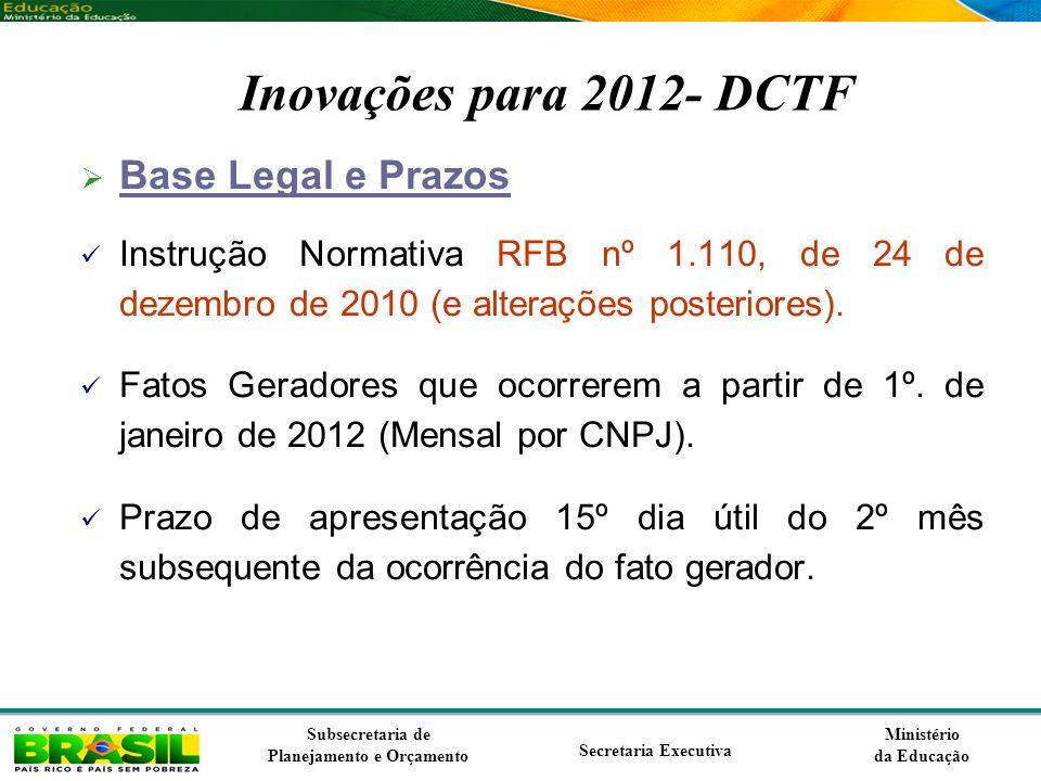 Inovações para 2012- DCTF Base Legal e Prazos