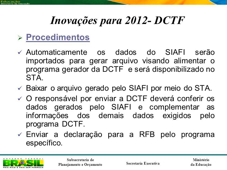 Inovações para 2012- DCTF Procedimentos
