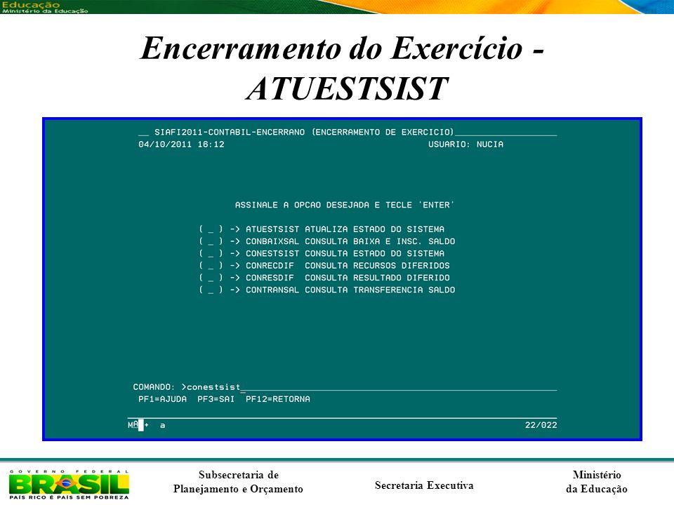 Encerramento do Exercício - ATUESTSIST