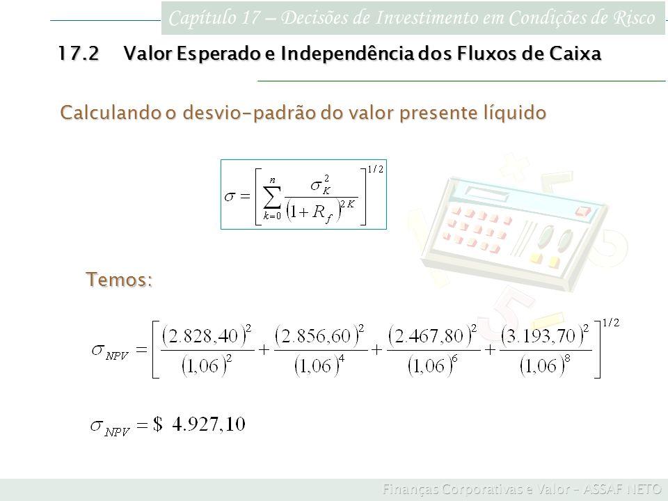 Calculando o desvio-padrão do valor presente líquido