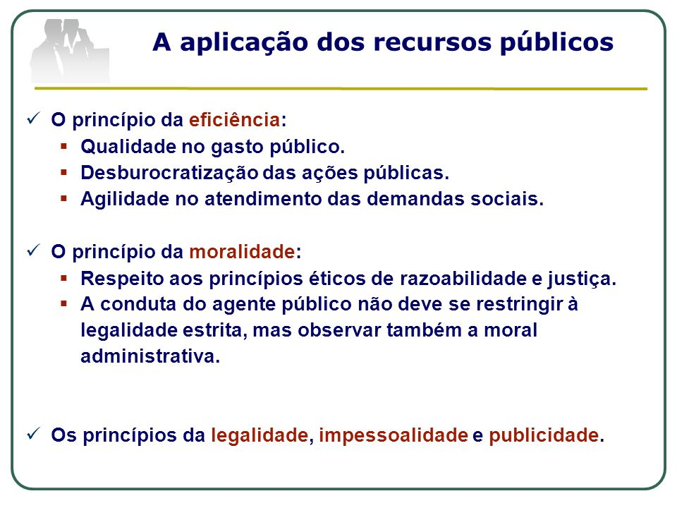 A aplicação dos recursos públicos