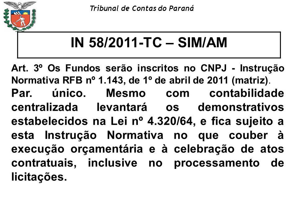 IN 58/2011-TC – SIM/AM Art. 3º Os Fundos serão inscritos no CNPJ - Instrução Normativa RFB nº 1.143, de 1º de abril de 2011 (matriz).