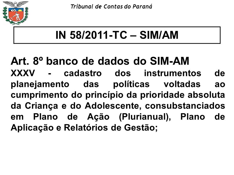 Art. 8º banco de dados do SIM-AM