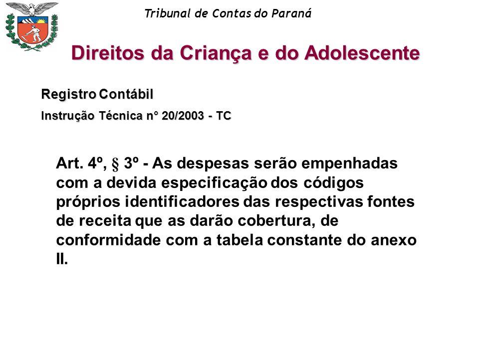 Registro Contábil Instrução Técnica n° 20/2003 - TC