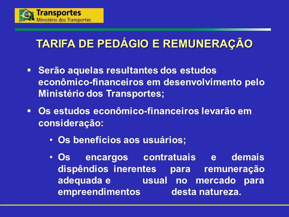 TARIFA DE PEDÁGIO E REMUNERAÇÃO