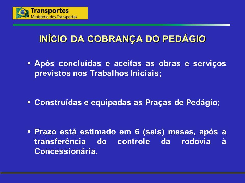 INÍCIO DA COBRANÇA DO PEDÁGIO