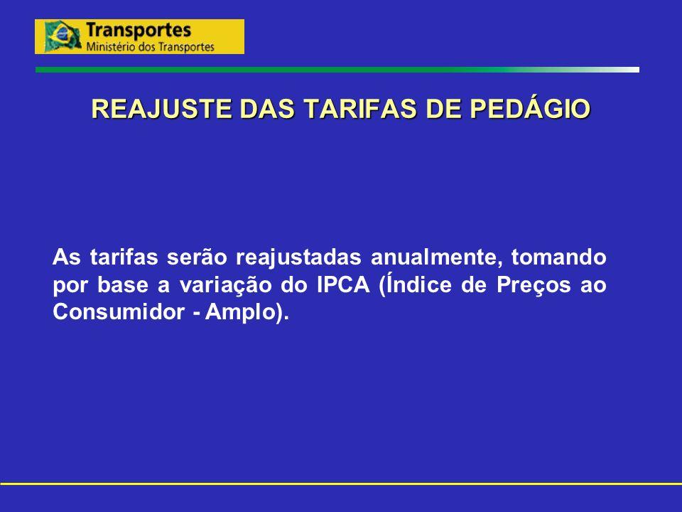 REAJUSTE DAS TARIFAS DE PEDÁGIO