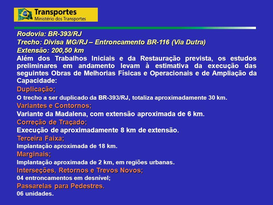 Trecho: Divisa MG/RJ – Entroncamento BR-116 (Via Dutra)