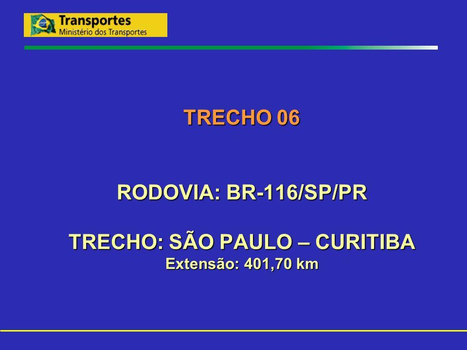 TRECHO 06 RODOVIA: BR-116/SP/PR TRECHO: SÃO PAULO – CURITIBA Extensão: 401,70 km